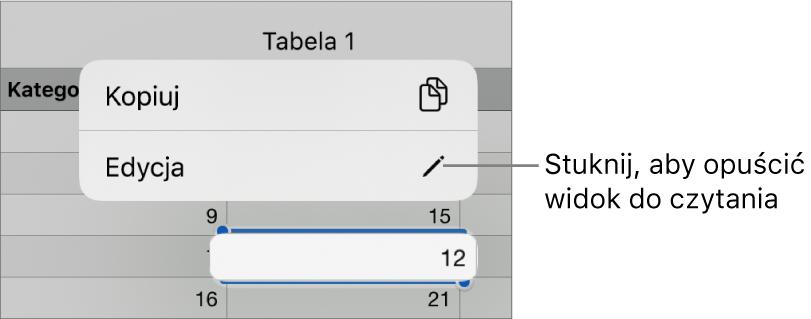 Zaznaczona komórka tabeli zwidocznym powyżej menu kontekstowym zawierającym przyciski Kopiuj oraz Edycja.