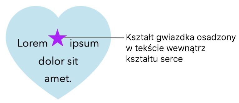 Kształt przedstawiający gwiazdę, osadzony wtekście wewnątrz kształtu przedstawiającego serce.