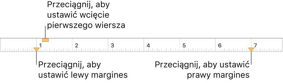 Linijka zetykietami wskazującymi znacznik lewego marginesu, znacznik wcięcia pierwszego wiersza oraz znacznik prawego marginesu.