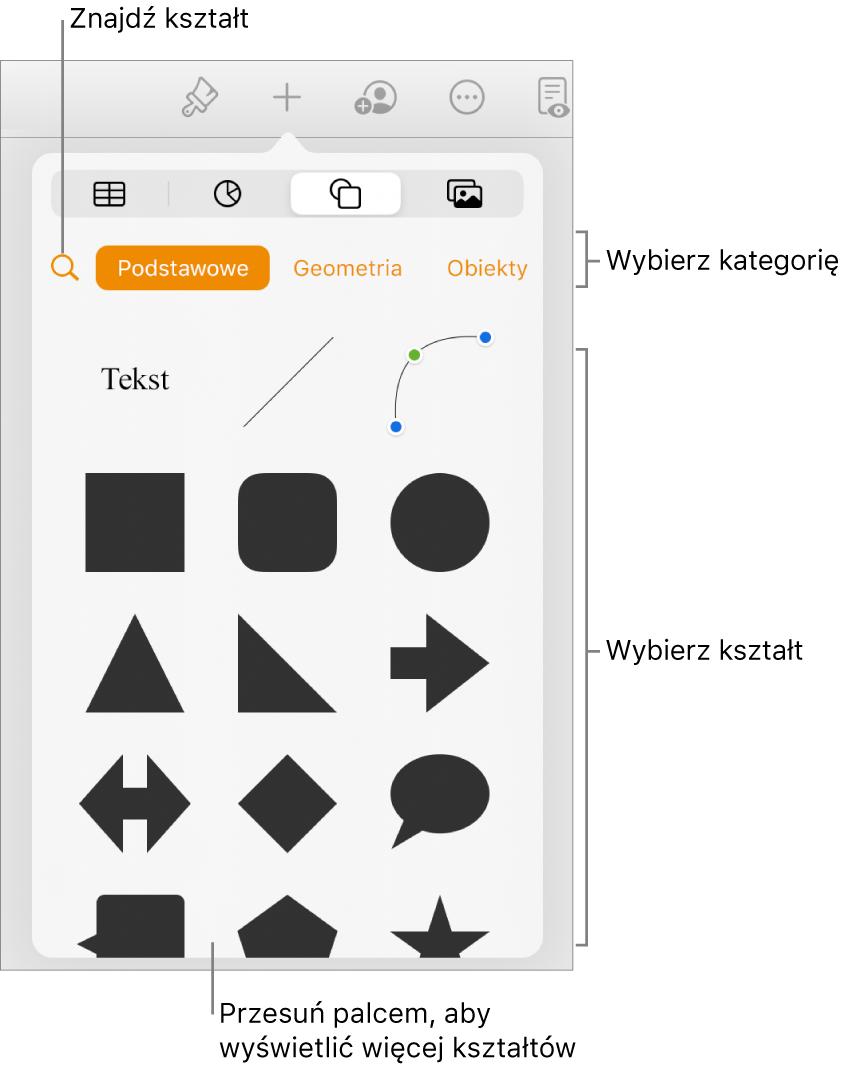 Biblioteka kształtów, na górze widoczne są kategorie, ana dole kształty. Możesz użyć znajdującego się na górze przycisku wyszukiwania, aby wyszukiwać kształty. Przesuń, aby zobaczyć ich więcej.