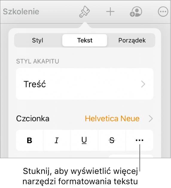 Karta Tekst wnarzędziach formatowania ze wskazanym przyciskiem Więcej opcji tekstu.