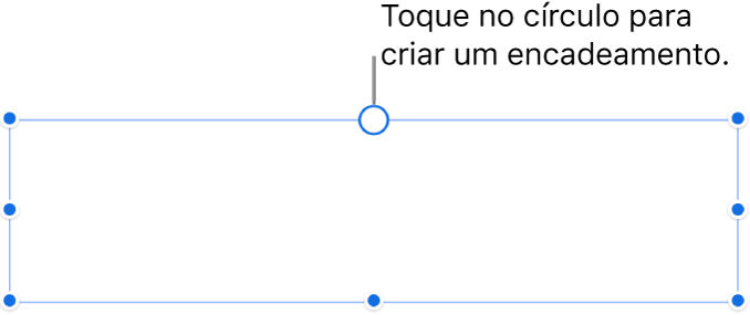 Uma caixa de texto vazia com um círculo branco no topo e puxadores de redimensionamento nos cantos, lados e na parte inferior.