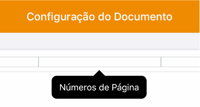 """Três campos de cabeçalho com o ponto de inserção no campo central e um menu local mostrando """"Números de Página""""."""