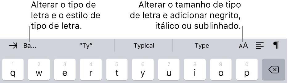 Os botões de formatação do texto acima do teclado, a partir da esquerda com a indentação, tipo de letra, três campos de texto preditivos, tamanho do tipo de letra, alinhamento e inserir.