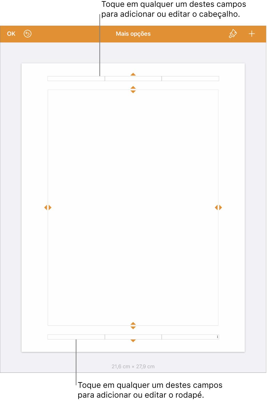 """A vista """"Mais opções"""" com três campos na parte superior do documento para cabeçalhos e três campos na parte inferior para rodapés."""