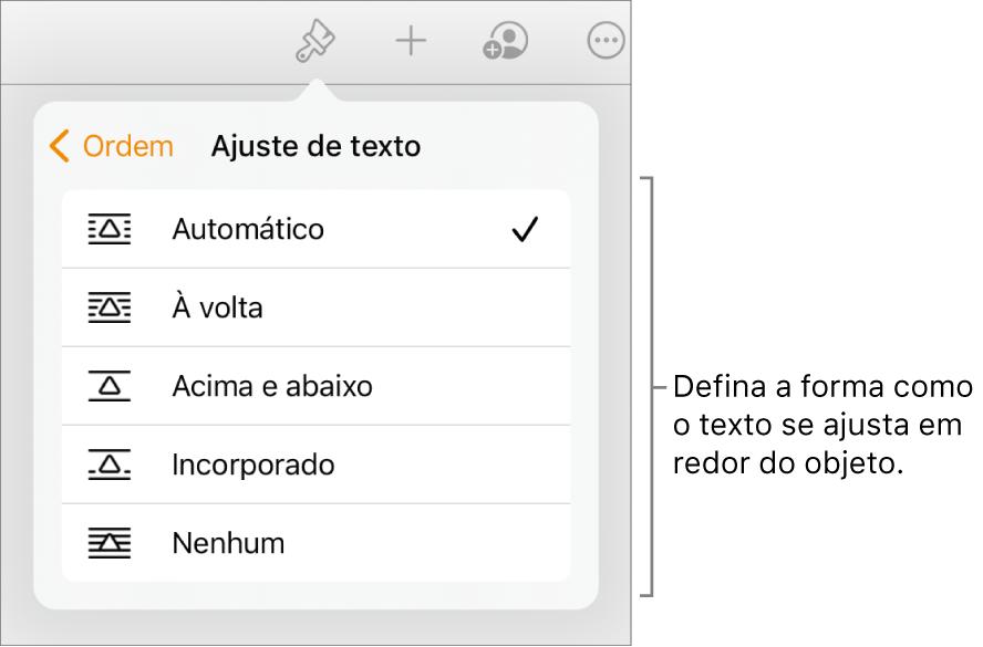 """Os controlos de Formatação com o separador Organização selecionado. Por baixo estão os controlos """"Ajuste de texto"""" com """"Passar para a frente/para trás"""", """"Mover com texto"""" e """"Ajuste de texto""""."""