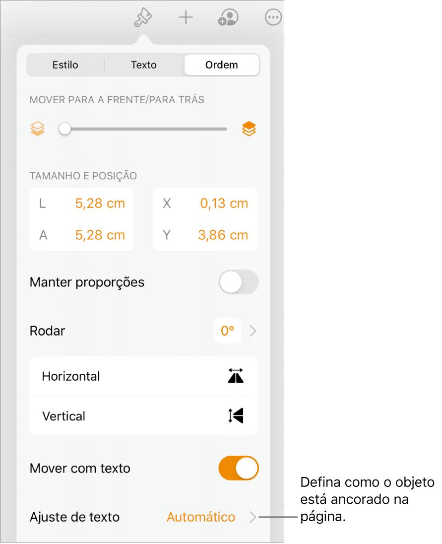 """Os controlos de formatação com o separador Organização selecionado e os controlos para """"Passar para a frente/para trás"""", """"Mover com texto"""" e """"Ajuste de texto""""."""