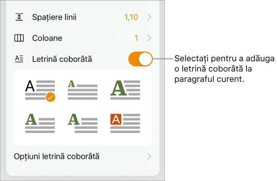 Comenzile Letrină coborâtă situate în partea de jos a meniului Text.