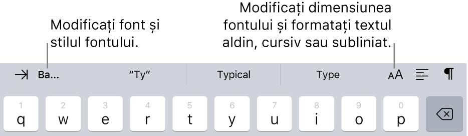 Butoanele de formatare a textului de deasupra tastaturii, începând din partea stângă cu indentare, font, trei câmpuri de text predictiv, dimensiunea fontului, aliniere și inserare.