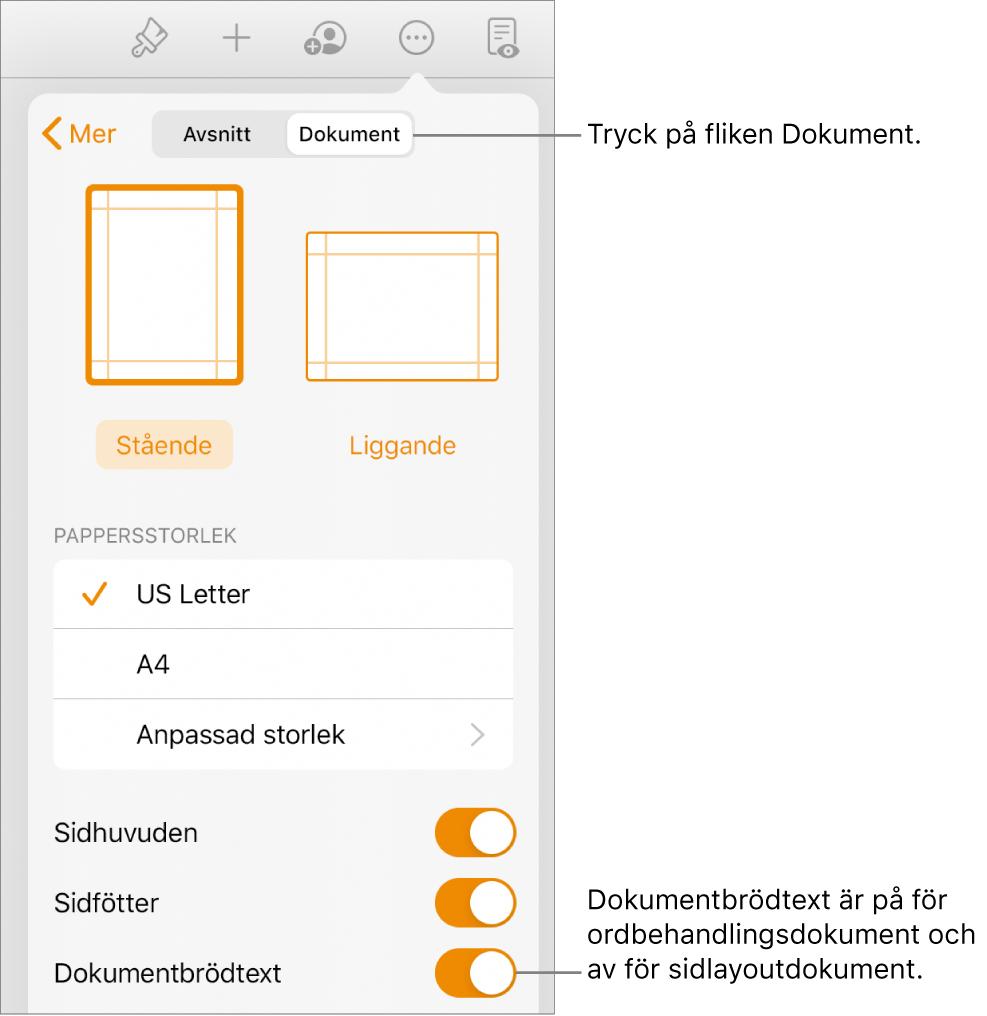 Dokumentformatreglagen med Dokumentbrödtext påslaget nära nederkanten av skärmen.
