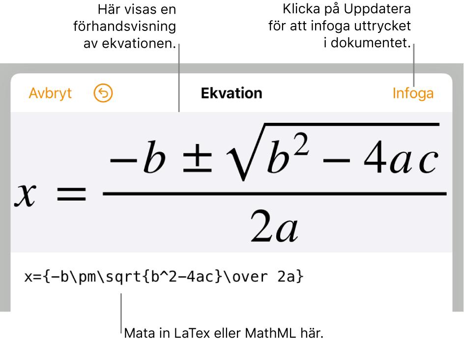 Dialogrutan för att redigera ekvationer med den kvadratiska formeln som skrivits med LaTeX-kommandon och en förhandsvisning av formeln ovanför den.