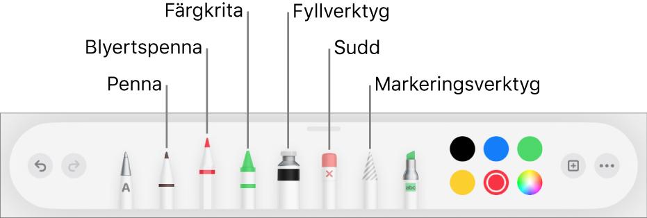 Ritverktygsfältet med en penna, blyertspenna, krita, fyllningsverktyg, sudd, markeringsverktyg och en färgkälla som visar den aktuella färgen.