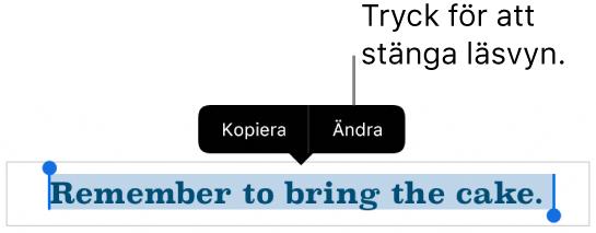 En mening är markerad och ovanför den finns en kontextmeny med knapparna Kopiera och Ändra.