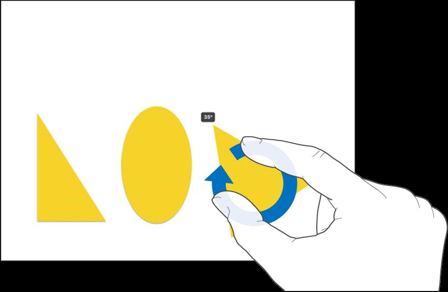 Två fingrar roterar ett objekt.