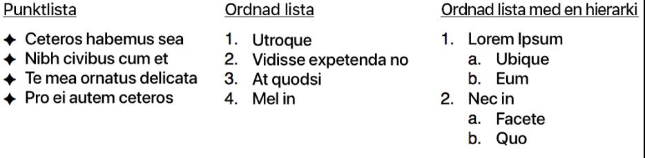 Exempel på listor med punkter, ordnade listor och listor ordnade hierarkiskt.