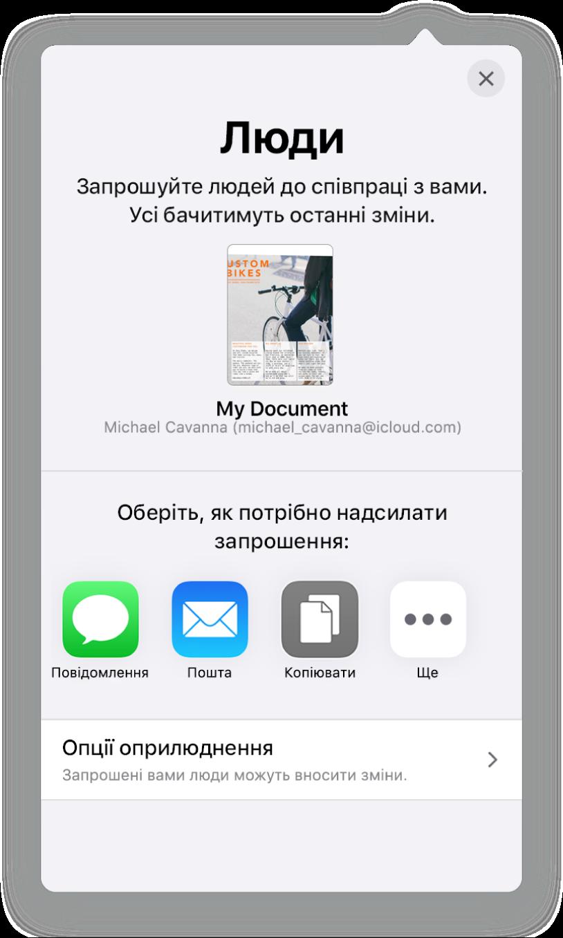 Екран «Додати людей» і зображення документа, який буде в спільному доступі. Нижче показано кнопки, за допомогою яких можна надіслати запрошення, зокрема «Пошта», «Скопіювати посилання» та «Більше». Внизу розташовано кнопку «Опції спільного доступу».