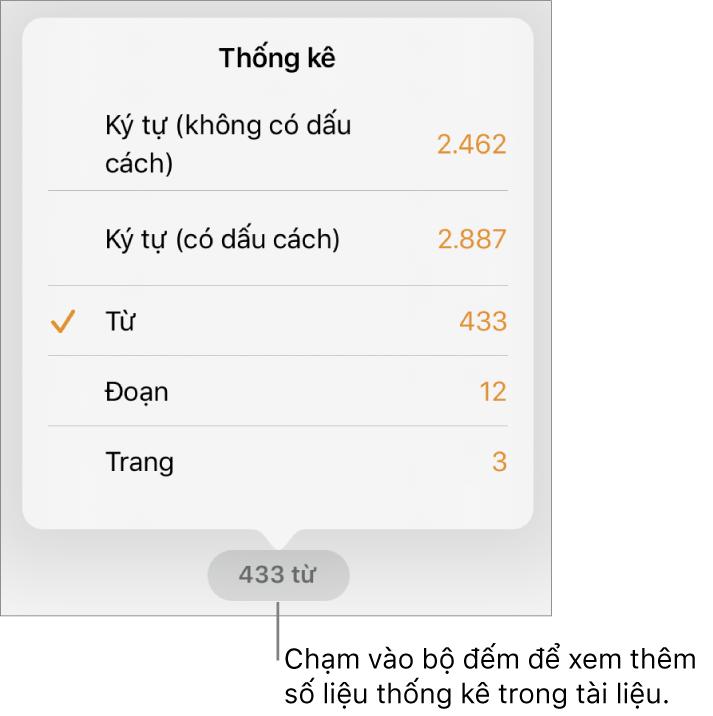 Bộ đếm từ với menu đang hiển thị các tùy chọn để hiển thị số lượng ký tự có và không có dấu cách, số từ, số đoạn và số trang.