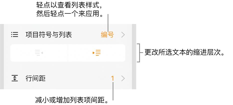 """""""格式""""控制,带有""""项目符号与列表""""菜单、缩进按钮和行间距控制的标注。"""