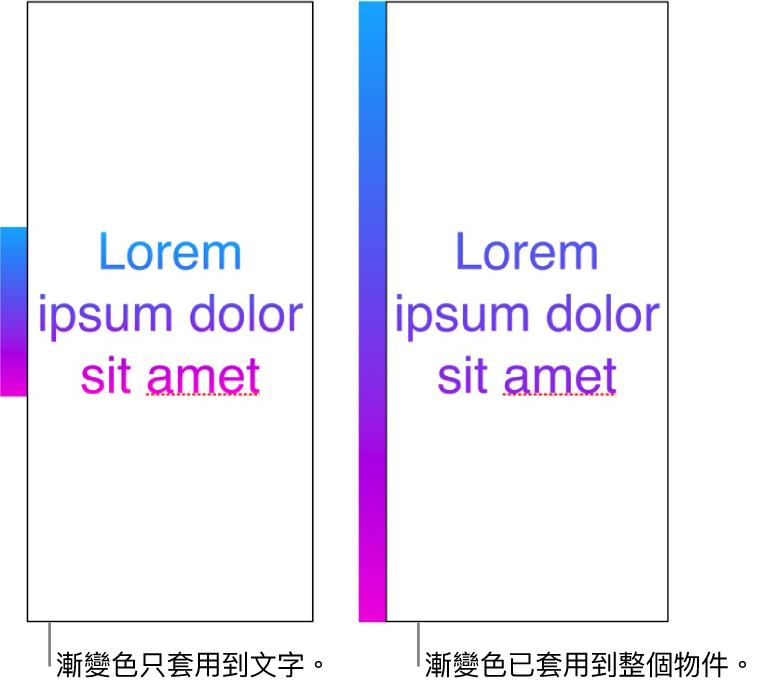 並排範例。第一段文字範例顯示漸變色只套用至文字,使整個色譜顯示在文字中。第二段文字範例顯示漸變色套用至整個物件,因此只會有部份色譜顯示在文字中。