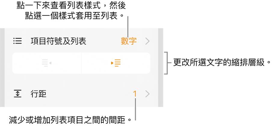 「格式」控制項目,帶有「項目符號及列表」選單、縮排按鈕和行距控制項目的説明文字。