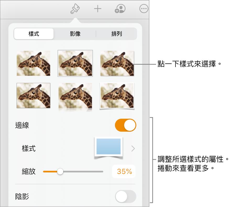 「格式」選單中的「樣式」分頁,最上方為物件樣式,下方為用於更改邊線、形狀、倒影和不透明度的控制項目。