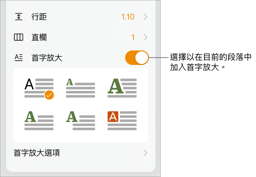「首字放大」控制項目位於「文字」選單底部。