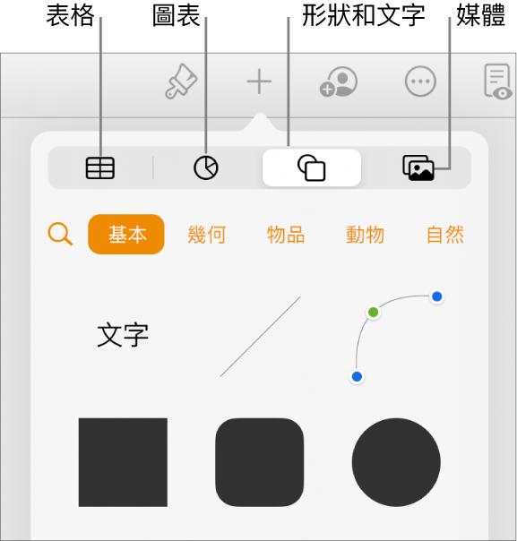 開啟的「插入」控制項目,最上方具有可用來加入表格、圖表、文字、形狀和媒體的按鈕。