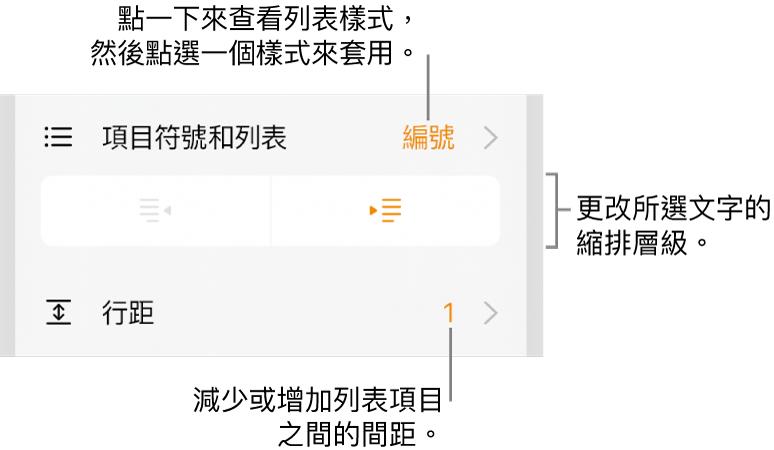 「格式」控制項目,帶有「項目符號和列表」選單、縮排按鈕和行距控制項目的說明文字。