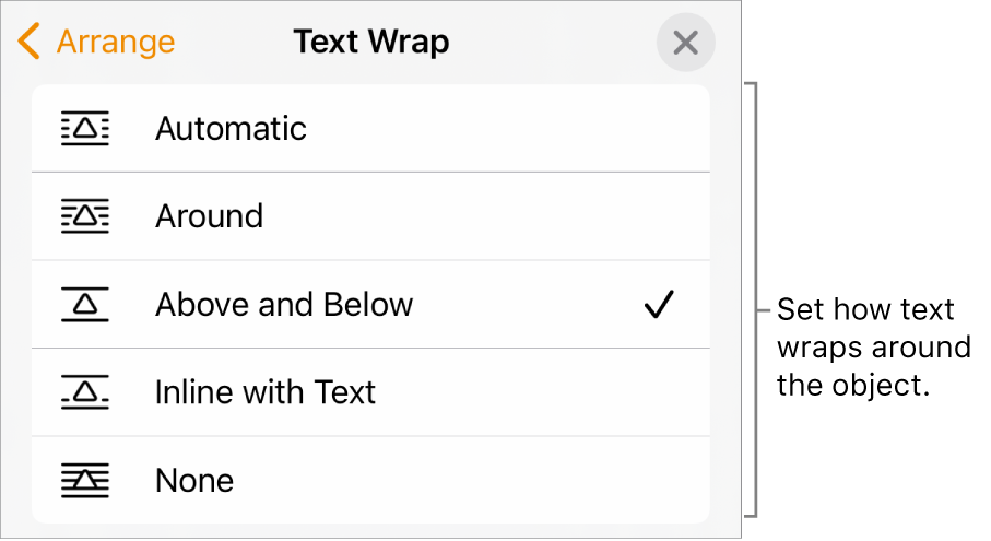 The Test Wrap controls with settings for Automatic, Around, Above and Below, Inline with Text, and None.