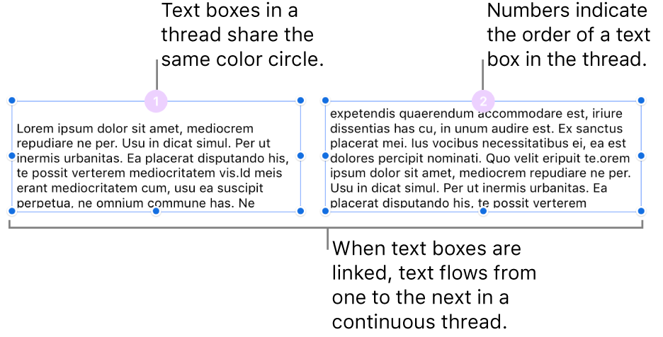 Two text boxes with purple circles at the top and numbers 1 and 2 in the circles.