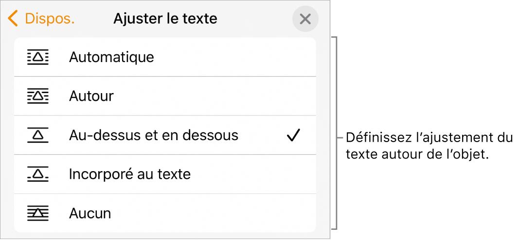 Les commandes «Ajustement du texte» avec des réglages pour Automatique, Autour, Au-dessus et en dessous, Incorporé au texte et Aucun.