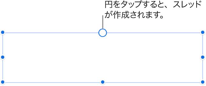 空のテキストボックス。上部に白い円があり、4隅および左右と下の枠線にサイズ変更ハンドルがあります。