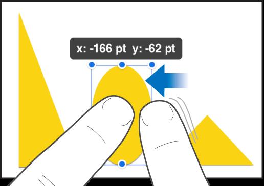 オブジェクトを押さえている1本の指と、このオブジェクトに向かってスワイプしているもう1本の指。