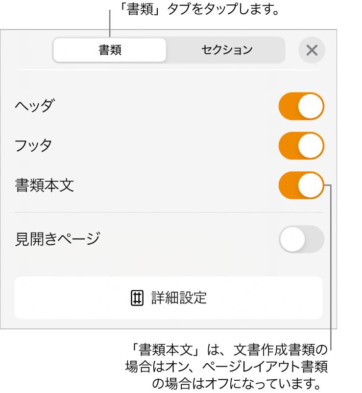 「書類」フォーマット用のコントロール。画面下部付近の「書類本文」がオンになっています。