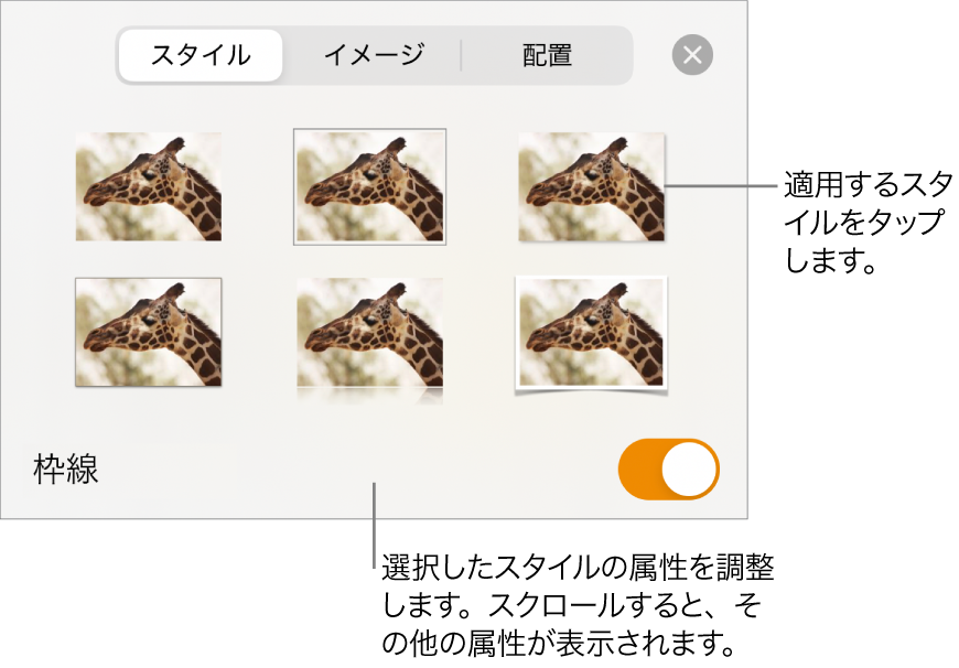 「スタイル」タブ。上部にイメージスタイル、下部に「スタイルオプション」ボタンが表示された状態。