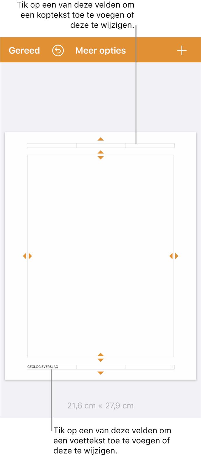 De weergave 'Meer opties' met drie velden boven aan het document voor kopteksten en drie velden onder aan het document voor voetteksten.