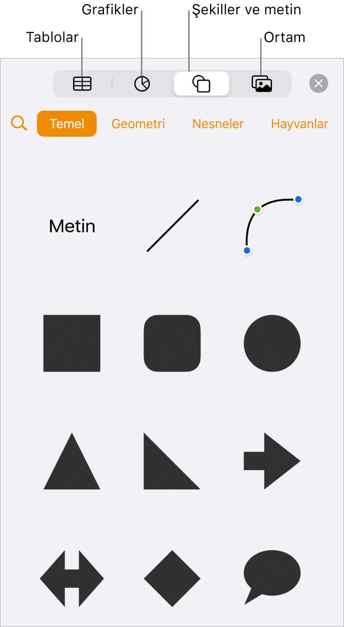 En üstte tablo, grafik ve şekil (çizgiler ve metin kutuları da dahil olmak üzere) ve ortam seçme düğmelerini gösteren nesne ekleme denetimleri.