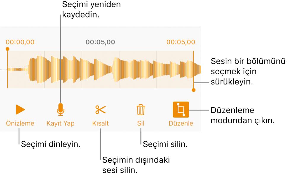 Kaydedilen sesi düzenleme denetimleri. Tutamaklar kaydın seçilen kısmını gösterir; Önizleme, Kaydet, Kes, Sil ve Düzen Modu düğmeleri aşağıdadır.