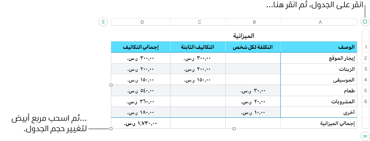 جدول محدد وبه مربعات بيضاء لتغيير الحجم.