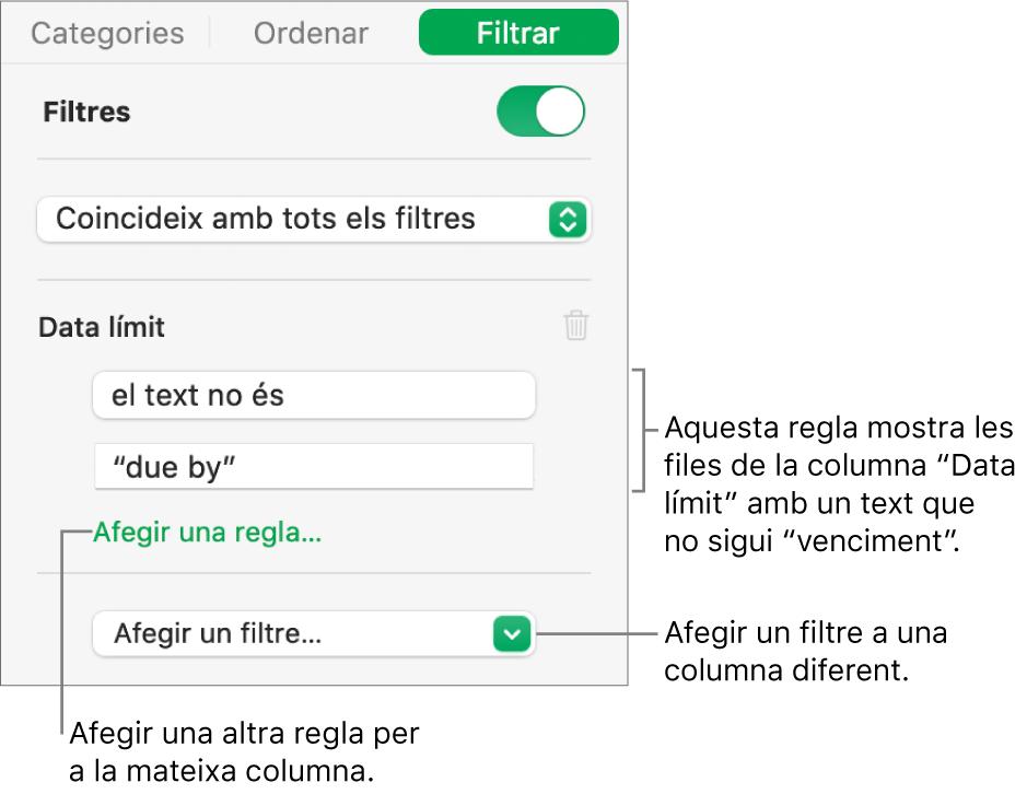 Controls per crear regles de filtració.