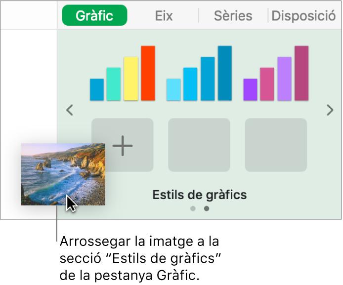 Acció d'arrossegar una imatge a la secció d'estils de gràfic de la barra lateral per crear un nou estil.