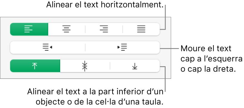 La secció Alineació, amb botons per alinear el text horitzontalment, moure'l a l'esquerra o la dreta i alinear-lo verticalment.