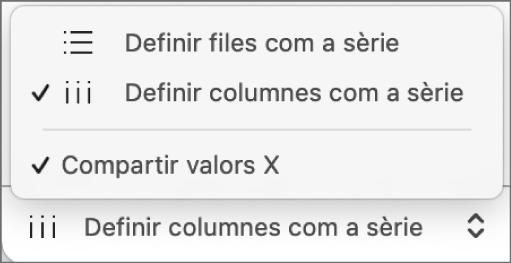 El menú desplegable per indicar si es representaran les files o les columnes com a sèrie.