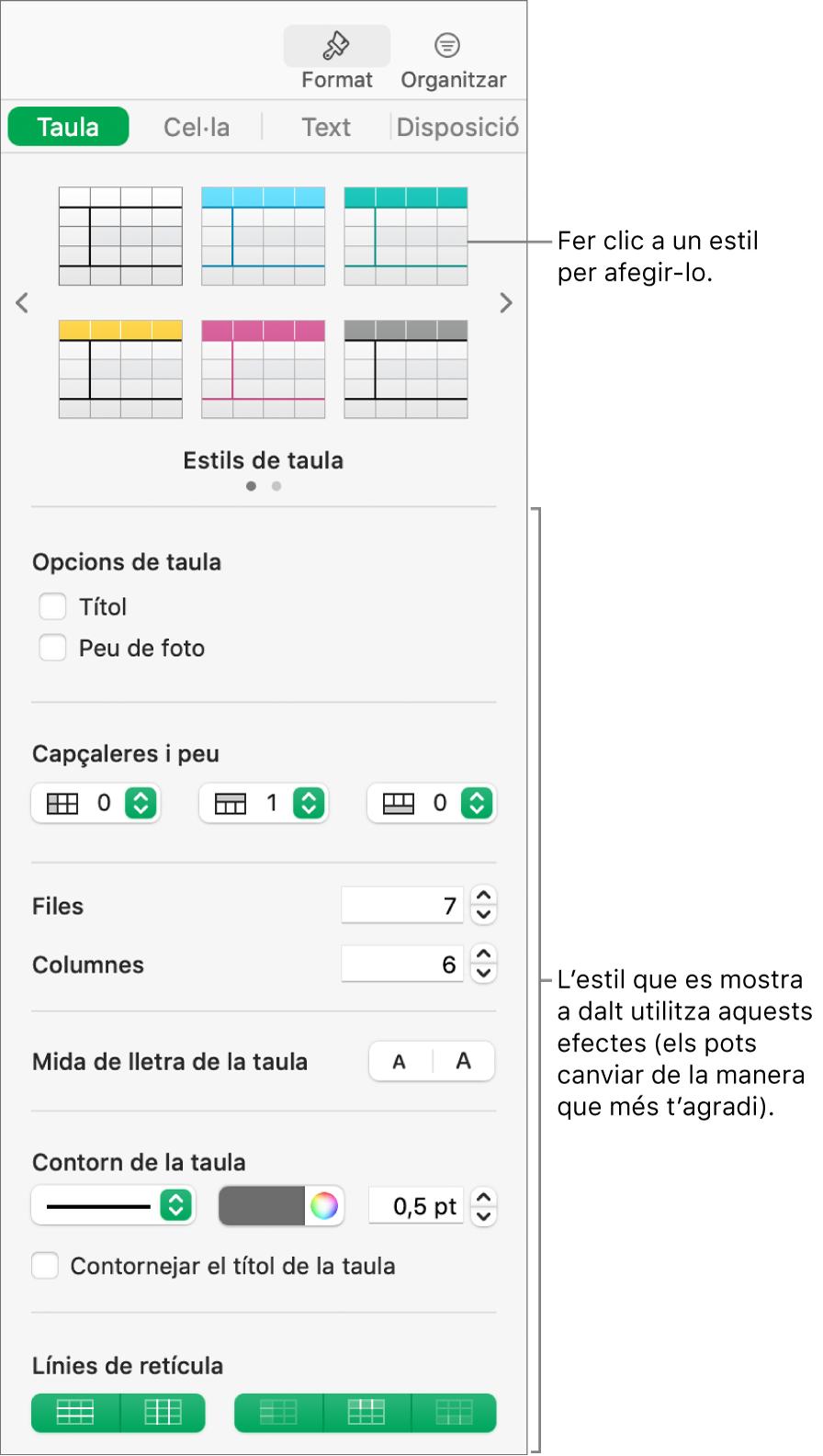 La barra lateral Format mostrant els estils de taula i les opcions de format.