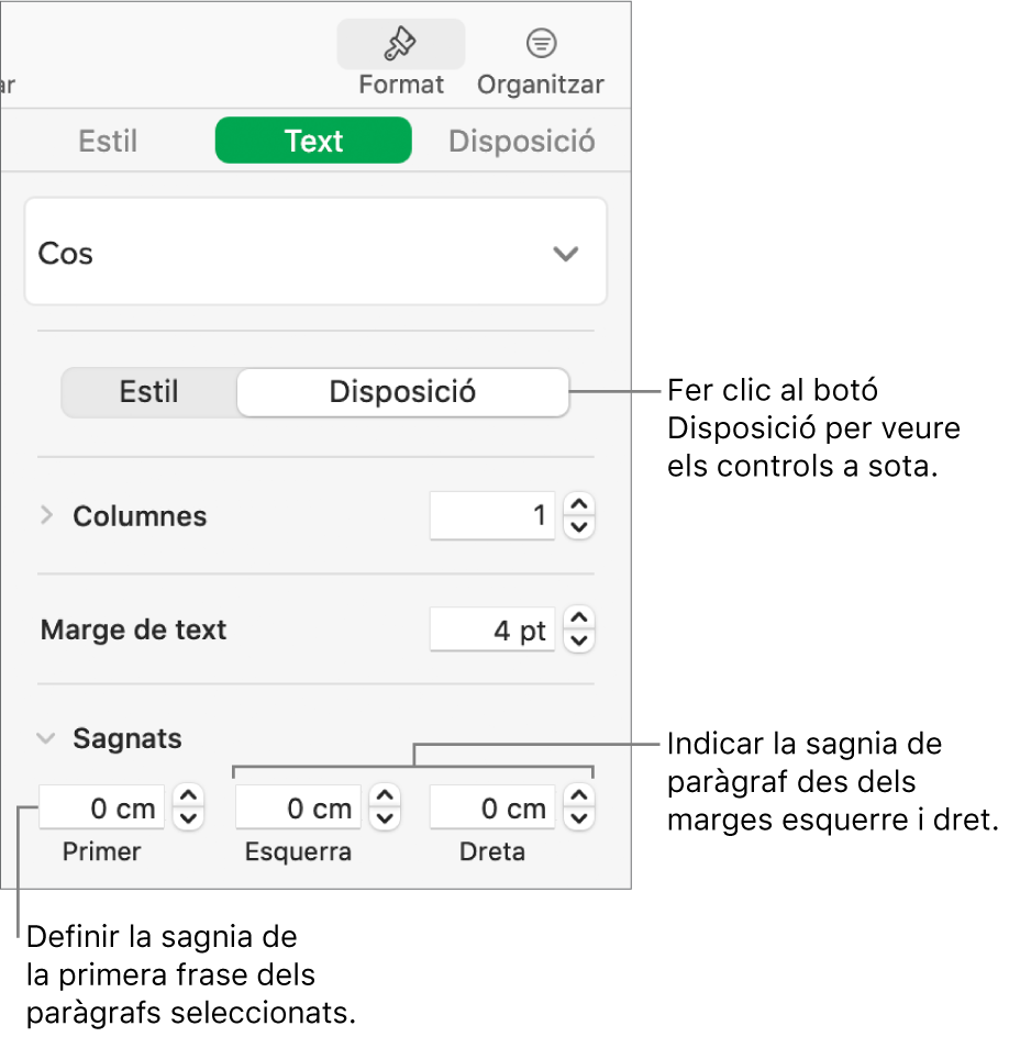 La secció Disposició de la barra lateral Format, amb controls per ajustar la sagnia de la primera línia i els marges de paràgraf.
