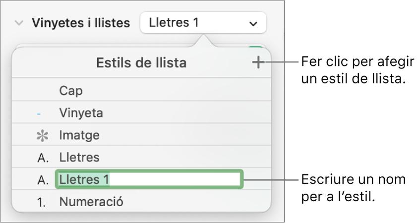 """El menú emergent """"Estils de llista"""", amb un botó Afegir a l'angle superior dret i un nom d'estil de marcador de posició amb el seu text seleccionat."""