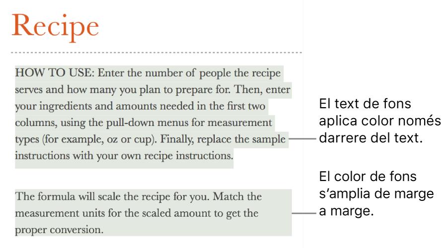 Un paràgraf amb color només darrere del text i un segon paràgraf amb color al darrere que s'estén de marge a marge en un bloc.
