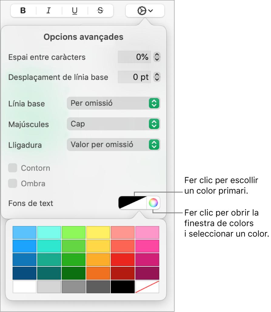 Controls per seleccionar un emplenament de caràcter.