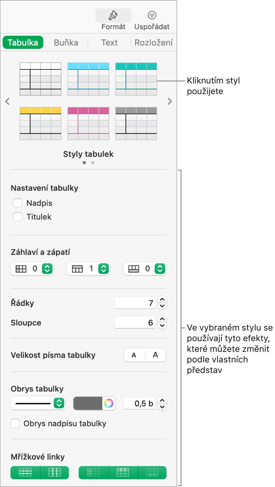 Boční panel Formát se styly tabulek avolbami formátování