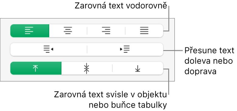 Voddílu Zarovnání jsou tlačítka pro horizontální zarovnání textu, posunutí textu vlevo nebo vpravo asvislé zarovnání textu.